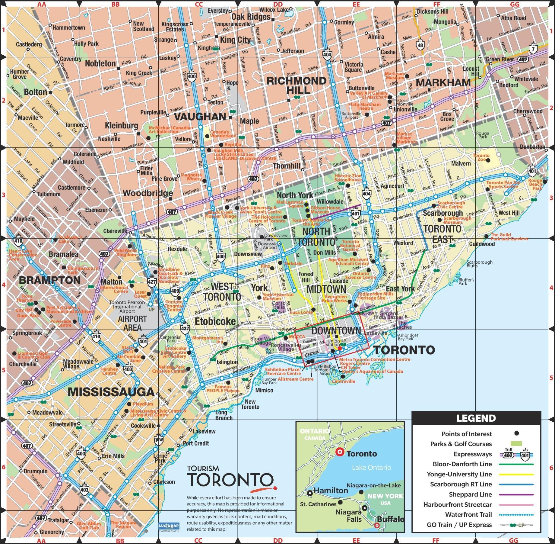 toronto kart Toronto kart   Kart over Toronto city (Canada) toronto kart